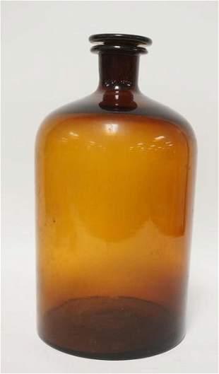 LARGE AMBER GLASS BOTTLE W/ STOPPER