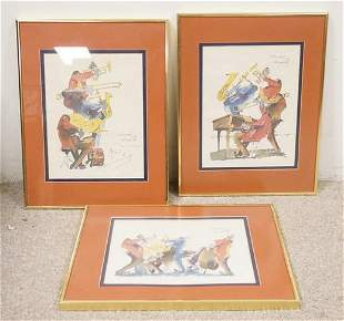 3 SIGNED MEISMAN PRINTS OF NEW ORLEANS JAZZ MUSICIANS