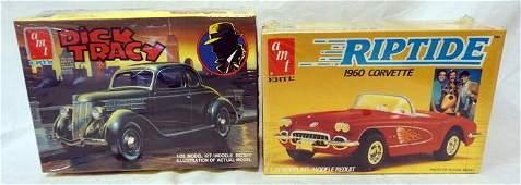2 AMT ERTL CAR KITS, RIPTIDE AND DICK TRACY