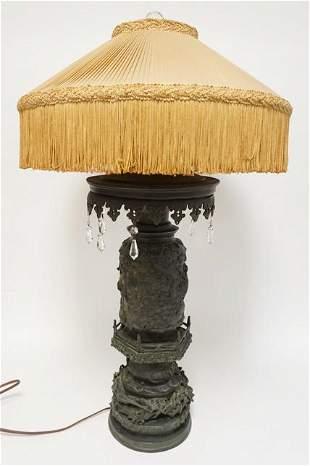 OUTSTANDING ANTIQUE BRONZE TABLE LAMP