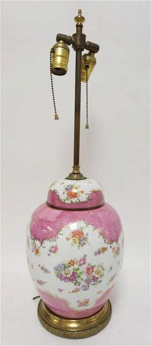 COVERED POTTERY JAR CONVERTED TO TABLE LAMP