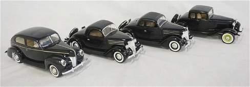 LOT OF 4 BUILT MODEL CAR KITS OF ANTIQUE CARS