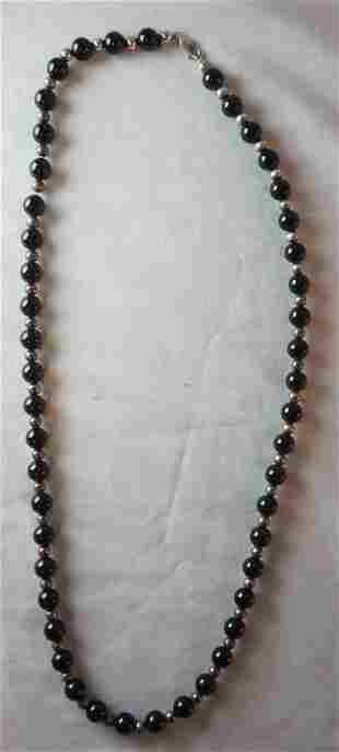 TIFFANY & CO ONYX  AND STERLING SILVER BEADED NECKLACE