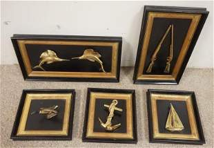 GROUP OF BRASS NAUTICAL AND RELATED ITEMS IN SHADOW BOX