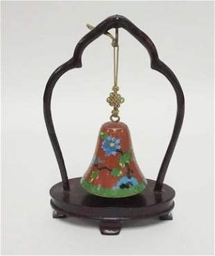 CLOISONNE BELL W/WOOD STAND