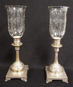 PAIR OF ANTIQUE ENGLISH SILVER PLATE HURRICANE CANDLE