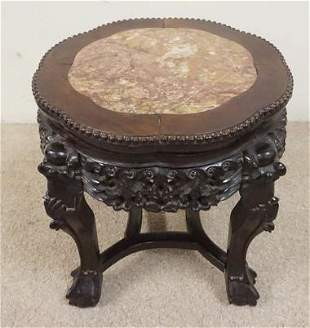 CARVED ASIAN STAND W/INSET BROWN MARBLE
