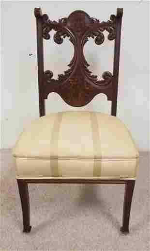 VICTORIAN SIDE CHAIR W/CARVED & PAINT DECORATED BACK