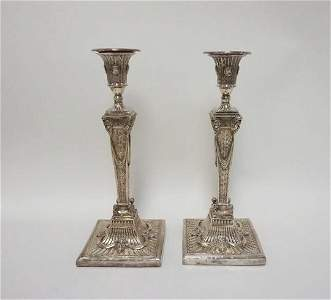 PAIR OF OUTSTANDING SILVER CANDLESTICKS