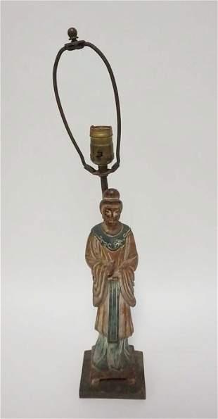 CERAMIC ASIAN FIGURE MOUNTED AS A LAMP