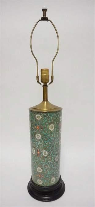 CYLINDRICAL PORCELAIN LAMP W/FLOWERS & SCROLLS