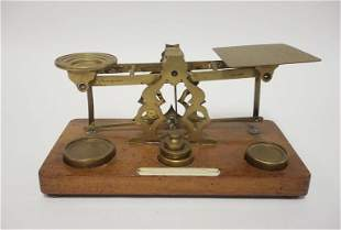 POSTAL SCALE W/WEIGHTS, HAS CELLULOID LABEL