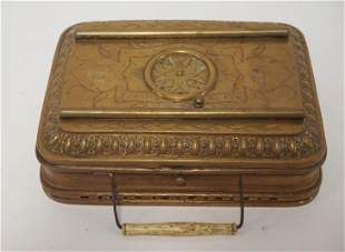 FRENCH ENGRAVED BRASS WARMING BOX