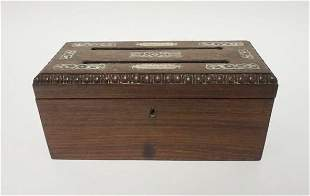 MOTHER OF PEARL INLAID LETTER BOX, ROSEWOOD