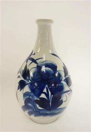BLUE & WHITE ASIAN VASE, FLORAL