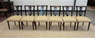 SET OF 6 LYRE BACK LEATHER SEAT CHAIRS