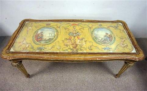 ANTIQUE PAINT DECORATED ITALIAN TABLE