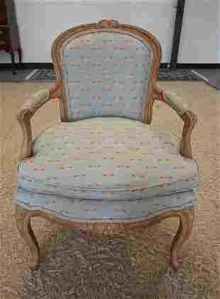 UPHOLSTERED FRENCH PROVINCIAL ARMCHAIR