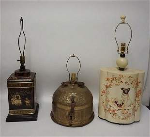 LOT OF 3 ASIAN STYLE LAMPS