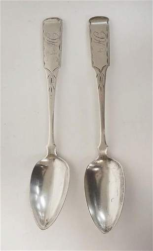 PAIR OF B WENMAN COIN SILVER TABLE SPOONS