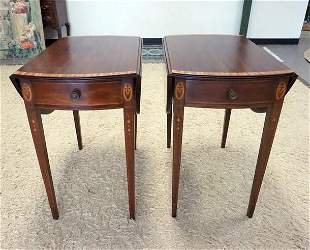PAIR OF OVAL MAHOGANY BANDED DROP LEAF TABLES