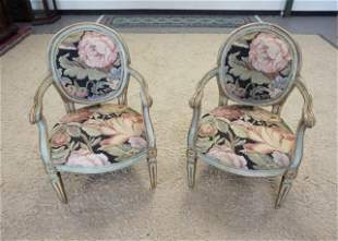 2 ARM CHAIRS W/PAINT DECORATED FRAMES