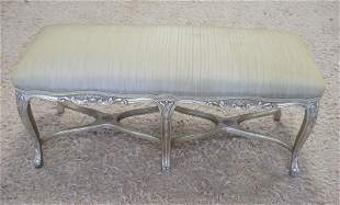 UPHOLSTERED WINDOW BENCH W/GILT SILVER FINISH