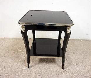 BLACK LACQUER LAMP TABLE