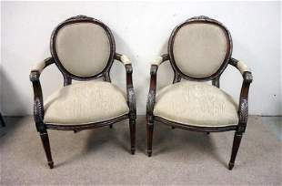 PAIR OF MEDALION BACK ARM CHAIRS