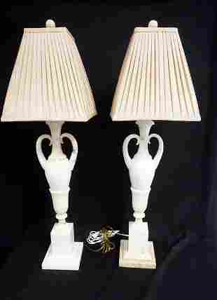 PAIR OF MARBLE URN FORM TABLE LAMPS