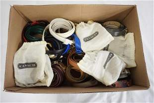 LARGE LOT OF BELTS; MANY ARE LEATHER