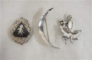LOT OF 3 STERLING SILVER BROOCH PINS