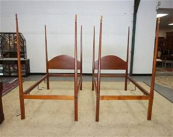 PAIR OF ELDRED WHEELER 4 POSTER TWIN BEDS