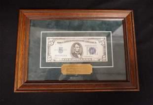 FIVE DOLLAR BILL FRAMED 1934A