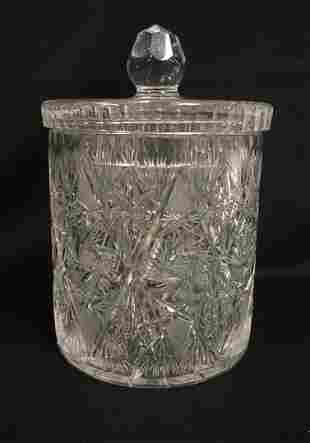 BRILLIANT CUT GLASS COVERED JAR
