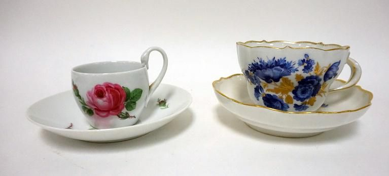 2 MEISSEN CUPS AND SAUCERS