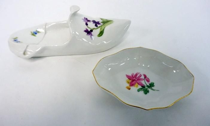 2 PC MEISSEN TRAY AND SHOE