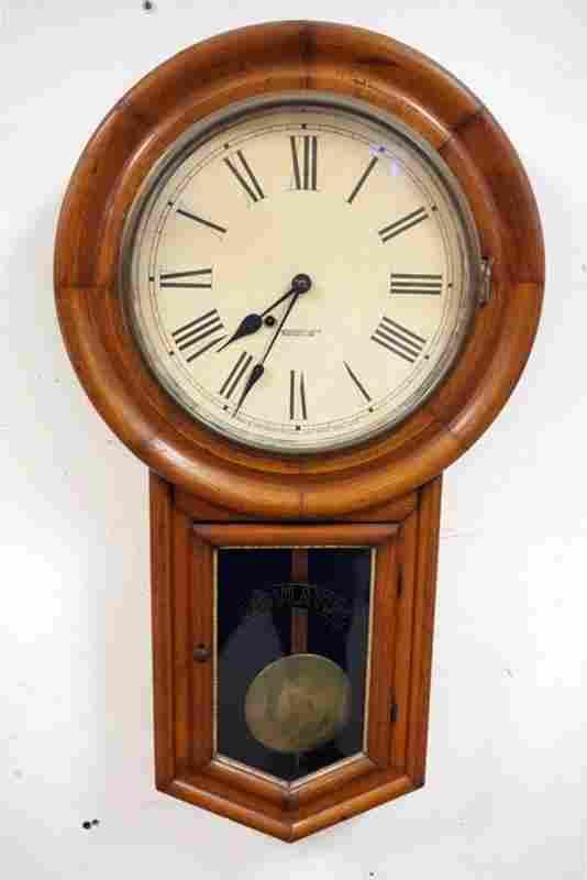 ANTIQUE NEW HAVEN SCHOOL HOUSE REGULATOR CLOCK