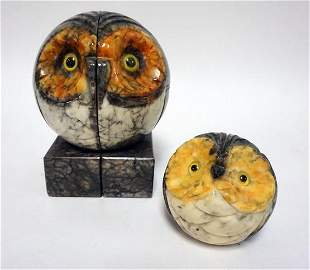 OWL MARBLE BOOK ENDS AND PAPERWEIGHT
