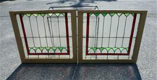 STAINED GLASS DOUBLE HUNG WINDOWS