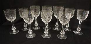 GROUP OF 10 WHEEL CUT GOBLETS SIGNED BODA