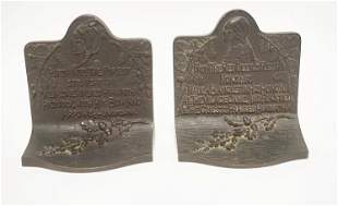 PAIR OF HEAVY CAST IRON HIAWATHA BOOKENDS