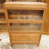 SOLID OAK 3 SECTION BARRISTER BOOKCASE