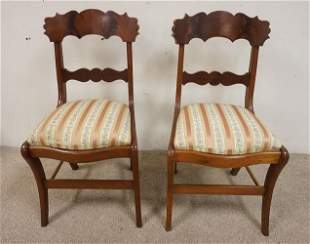 PAIR OF SABRE LEG EMPIRE SIDE CHAIRS