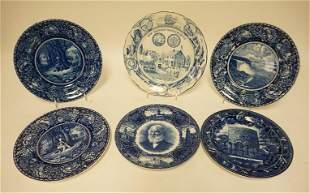 6 BLUE TRANSFER SOUVENIR PLATES