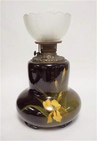 LOUWELSA WELLER ART POTTERY KEROSENE LAMP
