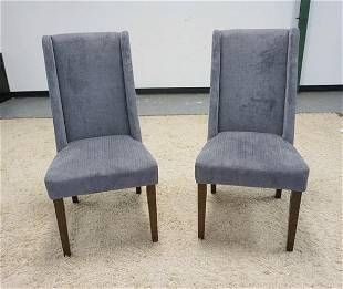PAIR OF GRAY UPHOLSTERED SIDE CHAIRS