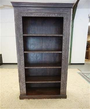 UNUSUAL CARVED ASIAN BOOKCASE