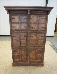 ASIAN CHIP CARVED MULTI DOOR CABINET