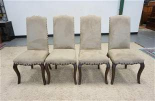 GROUP OF 4 UPHOLSTERD MICROFIBER CHAIRS